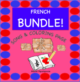 Distance Learning BUNDLE! French Songs, Lyrics and Coloring Page