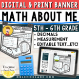 Distance Learning Back to School First Day of Math Activity Upper Grades Digital
