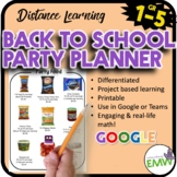 Distance Learning Back to School Math Activity Party Planner
