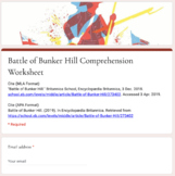Distance Learning: Battle of Bunker Hill Article (Reading Level 2) Comp. Wks.