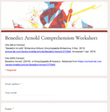 Distance Learning: Benedict Arnold Article (Reading Level 2) Comp. Wks.