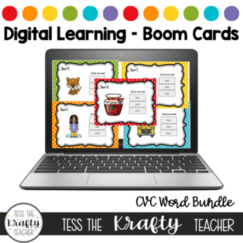 Distance Learning Boom Card Short Vowel CVC Word Bundle