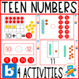4 activities to work on Teen Numbers Boom Cards 11-20 K, 1, Sped
