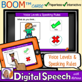 Distance Learning Boom™ Cards: Voice levels & Speaking Rules for speech therapy