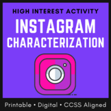 Distance Learning Character Analysis Worksheet: Instagram Characterization, CCSS