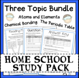 Chemistry Atoms, Periodic Table and Bonding Topics Workshe