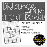 Distance Learning Choice Board Language Arts Writing