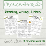 Choice Boards - Week Five - Reading, Writing, Math