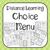 Distance Learning Choice Menu for Home Learning
