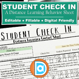 Distance Learning Behavior Chart & Daily Check In  │ Stude