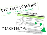 Distance Learning Daily Schedule for Students