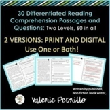 Distance Learning, Differentiated Reading Passages & Quest