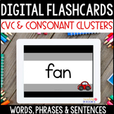 Distance Learning Digital Flashcards: CVC/Blend Words, Phr