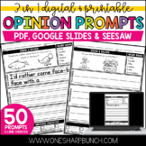 Distance Learning - Digital & Printable Opinion Journal Prompts