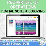 Digital Properties of Operations: Notes and Coloring Activity