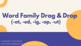 Distance Learning - Digital Word Family Drag & Drop (-at, -ed, -ig, -op, -ut)