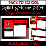 Distance Learning-Digital and Editable Back to School Welc