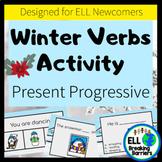Distance Learning, EL Winter Verbs Activity | Present Prog