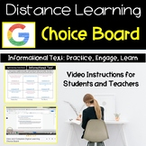 Distance Learning ELA   Informational Text Choice Board