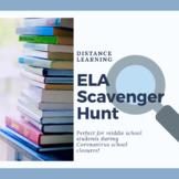 Distance Learning ELA Scavenger Hunt