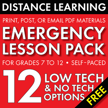 Distance Learning Emergency Lessons, 12 Home Study E-Learning English Activities