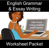 English Grammar & Essay Writing Worksheet Packet: Distance