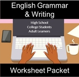 English Grammar and Writing Worksheet Packet: Distance Learning