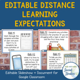 Distance Learning Expectations for Google Classroom (EDITABLE)