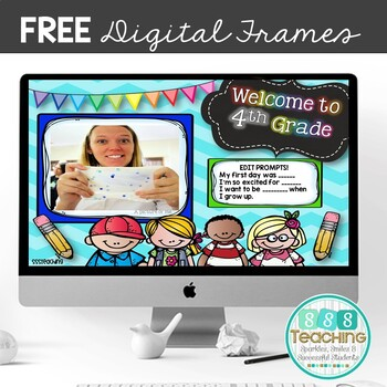 Distance Learning FREE First Day of School Picture Frames Editable