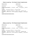 Distance Learning First Parent Contact Questionnaire (Editable)