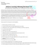 Distance Learning Following Directions Test