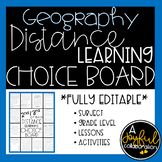 Distance Learning Choice Board for Geography