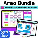 Distance Learning Google Classroom 3rd Grade Area Bundle