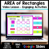 Distance Learning Google Classroom Area Video Lesson and Activities
