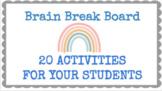 Distance Learning Google Slides Brain Break Board