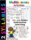 Distance Learning Google Slides Fun Phonics Work 2 syllable words  (First Grade)