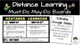 Distance Learning Google Slides Must-Do/May-Do Menu