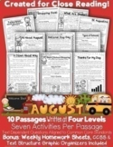 Distance Learning: Google Slides™& PDF August Close Reading 10 LEVELED Passages