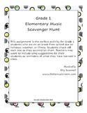 Distance Learning Grade 1 Elementary Music Scavenger Hunt