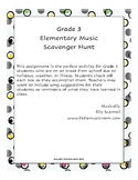 Distance Learning Grade 3 Elementary Music Scavenger Hunt