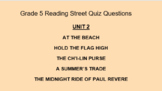 Distance Learning Grade 5 Reading Street Comprehension Questions : 5.1 Unit 2