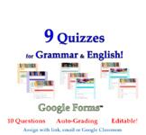 Distance Learning Grammar/English Quiz BUNDLE: 9 Google Fo