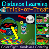 Distance Learning Halloween Trick or Treat Color Words AND Number Recognition