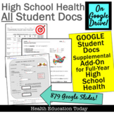 High School Health Student GOOGLE DOCS Supplemental Add-On