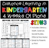 Distance Learning Home Plans for Kindergarten Set #3