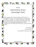Distance Learning K-2 Music Scavenger Hunt