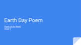 Distance Learning: Kindergarten Poem of the Week 5 (Earth Day Ed.)