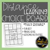 Distance Learning Choice Board for Language Arts