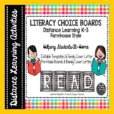 Distance Learning Literacy Choice Boards for Grades K-3