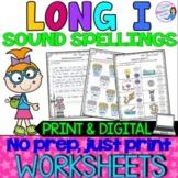 Distance Learning - Long I Vowel Teams Spellings Worksheets - Print and Digital